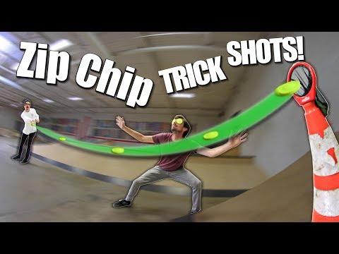 CRAZY MINI FRISBEE TRICK SHOTS! | Zip Chips