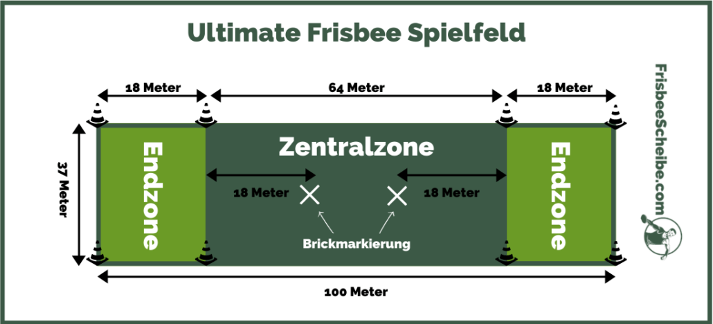 Ultimate Frisbee Spielfeld - Infografik - Frisbeescheibe.com